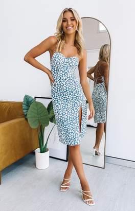 Beginning Boutique Flight 101 Lace Up Back Dress Blue