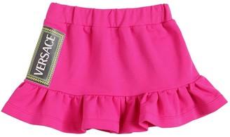 Versace Logo Print Cotton Blend Skirt