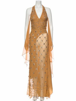 Elie Saab Halterneck Long Dress Brown