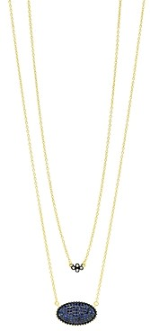 Freida Rothman Oval Pave Double Pendant Necklace in Rhodium & 14K Gold-Plated Sterling Silver, 16-18