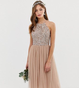 Maya Bridesmaid halter neck midi tulle dress with tonal delicate sequins in taupe blush-Brown