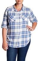 Planet Gold Lace Yoke Plaid Flannel Shirt (Plus Size)