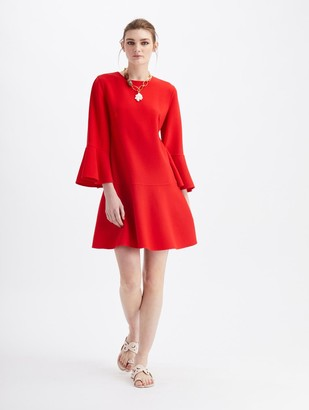 Oscar de la Renta Stretch Wool Long Sleeve Drop Waist Dress