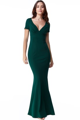 Goddiva Emerald Sweetheart Neck Maxi Dress