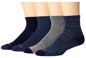 Merrell Midweight Cushion Ankle Quarter Socks 4-Pair (Navy) Crew Cut Socks Shoes
