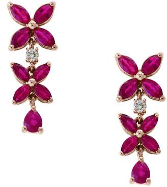 Effy Fine Jewelry 14K Rose Gold 2.72 Ct. Tw. Diamond & Ruby Earrings