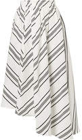 Apiece Apart Turkanna Asymmetric Striped Linen And Silk-blend Midi Skirt - White