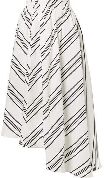Apiece Apart Turkanna Asymmetric Striped Linen And Silk-blend Midi Skirt - White