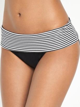 Panache Anya Stripe Fold Bikini Briefs - Black/White