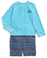 Solo Swim Printed Fish Long Sleeve Rash Guard and Swim Trunks Set