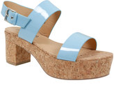 Yours Clothing Blue Patent Platform Cork Sandal In EEE Fit