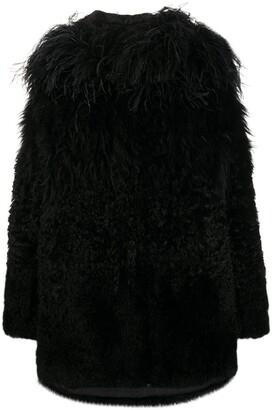 Prada Feather-Trimmed Coat