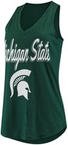 Unbranded Women's Green Michigan State Spartans At Ease V-Neck Tank Top