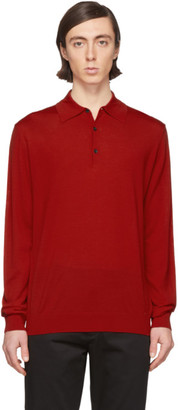 Lanvin Red Wool Long Sleeve Polo