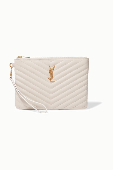 Saint Laurent Monogramme Quilted Leather Pouch - Cream