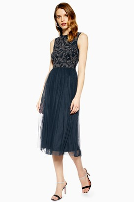 Lace & Beads Womens **Embellished Navy Midi Dress By Navy Blue