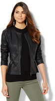 New York & Co. Pleated Peplum Faux-Leather Jacket