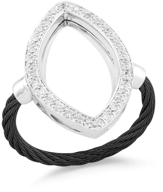 Alor Open Diamond Pave Marquise Ring, Black, Size 6.5