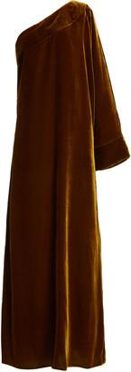 Bernadette Antwerp Gigi One-Shoulder Silk Velvet Maxi Dress