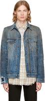 R 13 Indigo Denim Zippered Trucker Jacket