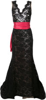 Oscar de la Renta lace detail evening dress