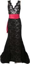 Oscar de la Renta lace detail evening dress