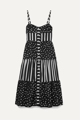 Solid & Striped Tiered Printed Voile Midi Dress - Black