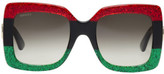 Gucci Red and Black Oversized Square Sunglasses