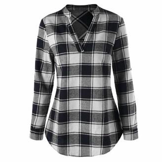 Kalorywee 2019 Sale Women Curved Hem Plaid Printed Blouse Long Sleeve V-Neck Shirt Tops Blue