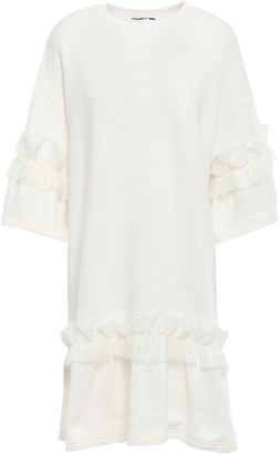 McQ Ruffled Lace-trimmed French Cotton-terry Mini Dress