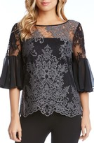 Karen Kane Women's Flare Sleeve Lace Overlay Top