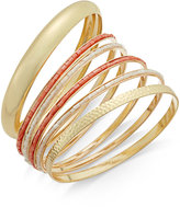 Thalia Sodi Gold-Tone 6-Pc. Set Metallic, Textured and Beaded Bangle Bracelets, Only at Macy's
