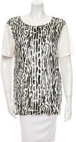 Giambattista Valli Short Sleeve Leopard Print Top