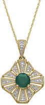 Lord & Taylor 14Kt. Yellow Gold Emerald and Diamond Pendant Necklace