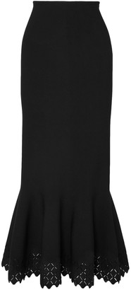 Alaia Fluted Laser-cut Stretch-knit Maxi Skirt