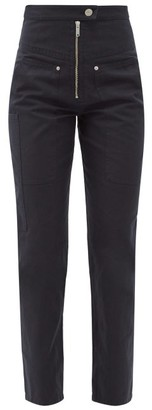 Etoile Isabel Marant Phil High-rise Cotton-blend Tapered-leg Trousers - Black