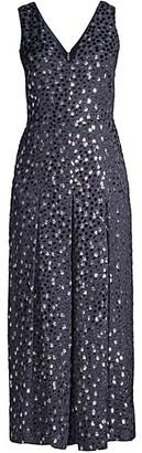 Kate Spade Velvet Dotted Cropped Silk-Blend Jumpsuit