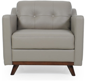 Moroni Monika Full Leather Mid-Century Chair, Medium Gray