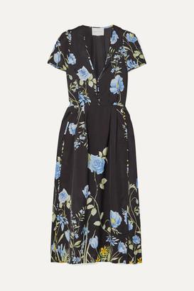 Alice McCall Flower Girl Floral-print Crepe De Chine Midi Dress - Black