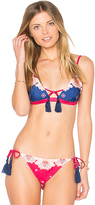 MinkPink Setting Sun Triangle Bikini Top in Navy