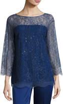 St. John Chantilly Lace 3/4-Sleeve Tunic, Violet