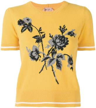 No.21 floral-intarsia knitted top