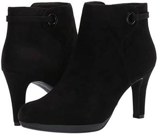 Clarks Adriel Mae (Black Suede/Textile Combi) Women's Shoes