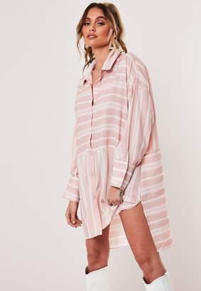Missguided Nude Stripe Oversized Dip Back Shirt Dress