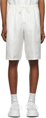 Dolce & Gabbana White Silk Logo Shorts