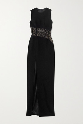 Rasario Lace-paneled Crepe Gown - Black