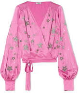 ATTICO Embellished Satin Wrap Top - Pink