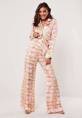 Missguided Pink Chain Print Satin Pyjama Bottoms