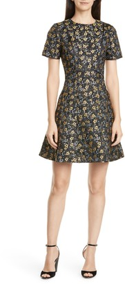 Ted Baker Divwine Floral Jacquard Fit & Flare Dress