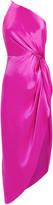 Mason by Michelle Mason Twist Knot Silk One Shoulder Dress